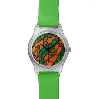 Grüner Gecko Uhr