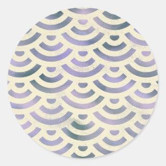 Grüner gelber Meerjungfrau-Pastell Runder Aufkleber