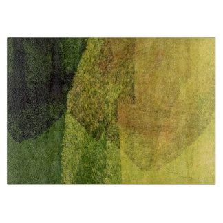 Grüner gelber schwarzer Naturwaldabstrakte Malerei Schneidebrett
