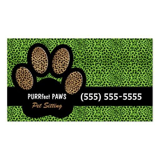 Grüner Gepard-Druck-kundenspezifisches Visitenkarten Vorlage