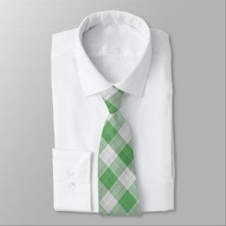Grüner Gingham-Karo - diagonales Muster Krawatte