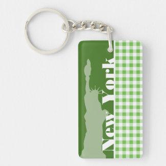 Grüner Gingham New York; Freiheitsstatue Schlüsselring
