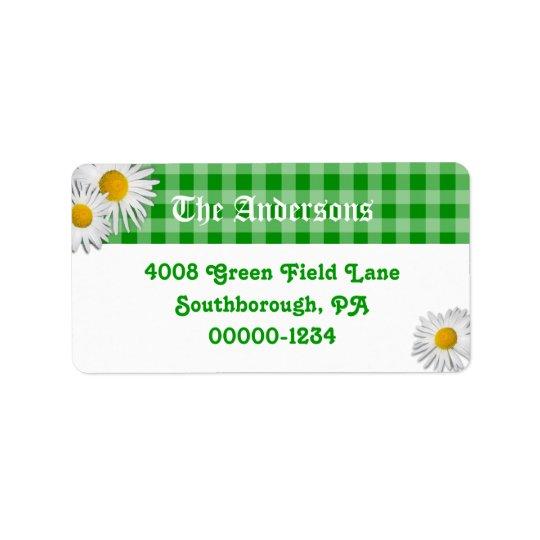 Grüner Gingham und Gänseblümchen-kundenspezifische Adressaufkleber