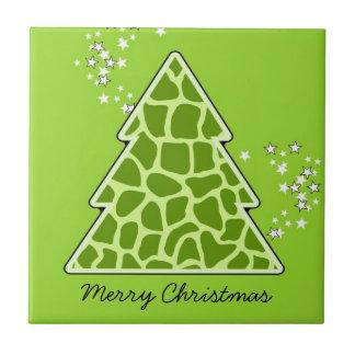 Grüner Giraffe Weihnachtsbaum Keramikfliese