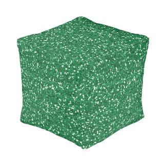 Grüner Glitter Kubus Sitzpuff