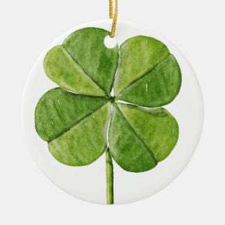 Grüner glücklicher Kleeblattklee Heiliger Rundes Keramik Ornament