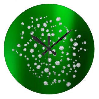 Grüner grünes Golddiamant Swarovski Große Wanduhr
