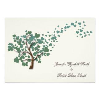 Grüner Herz-Baum auf Elfenbein-Hochzeit 12,7 X 17,8 Cm Einladungskarte