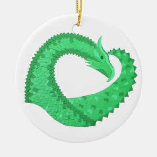 Grüner Herzdrache auf Weiß Keramik Ornament