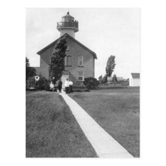 Grüner Insel-Leuchtturm Postkarte