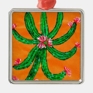 Grüner Kaktus 2 Silbernes Ornament