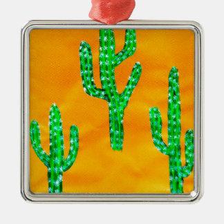 Grüner Kaktus 3 Silbernes Ornament