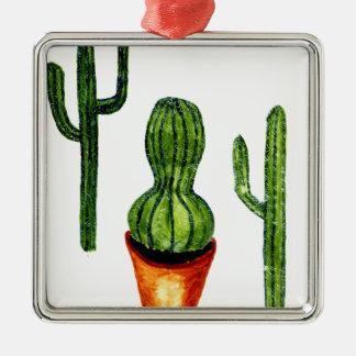 Grüner Kaktus 4 Silbernes Ornament