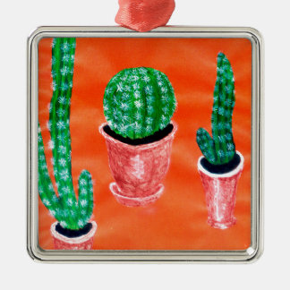 Grüner Kaktus Silbernes Ornament