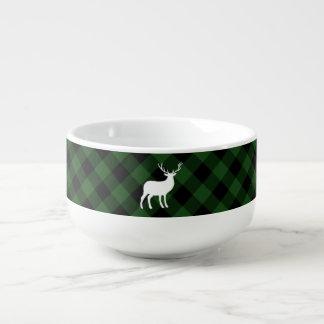 Grüner karierter und weißer Feiertag des Hirsch-| Große Suppentasse