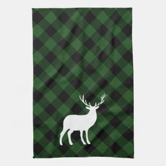 Grüner karierter und weißer Feiertag des Hirsch-| Handtuch