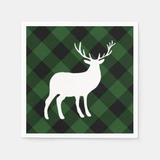 Grüner karierter und weißer Feiertag des Hirsch-| Papierserviette