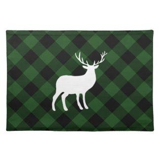 Grüner karierter und weißer Feiertag des Hirsch-| Stofftischset