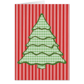 Grüner karierter Weihnachtsbaum V5 Karte
