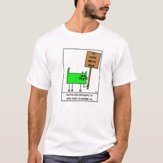 Grüner Katzen-Cartoon T-Shirt