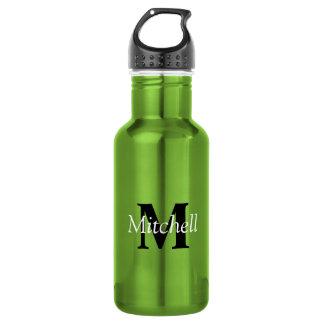Grüner klassischer schwarzer Monogramm-Name Trinkflasche