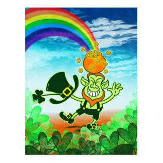 Grüner Kobold, der einen Topf auf seinem Kopf Postkarte