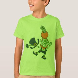 Grüner Kobold, der einen Topf auf seinem Kopf T-Shirt