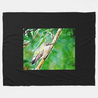 Grüner Kolibri Fleecedecke
