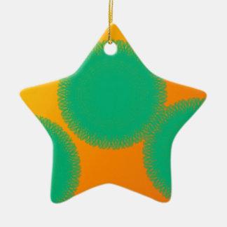 grüner Kreis in der gelblichen Orange Keramik Ornament