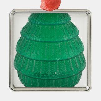 Grüner Kunst-Glas-Vase Silbernes Ornament