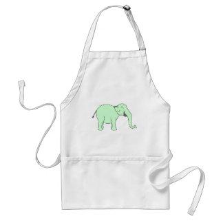 Grüner lachender Elefant. Karikatur Schürzen