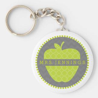 Grüner Lehrer Keychain Apples Quatrefoil Standard Runder Schlüsselanhänger