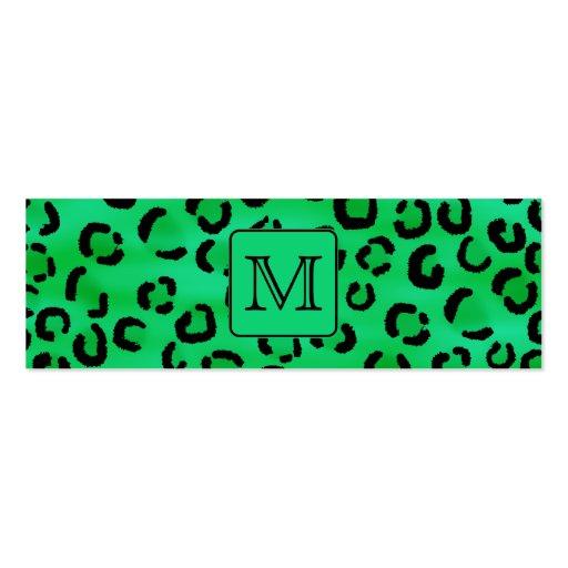 Grüner Leopard-Druck mit kundenspezifischem Visitenkarten Vorlage