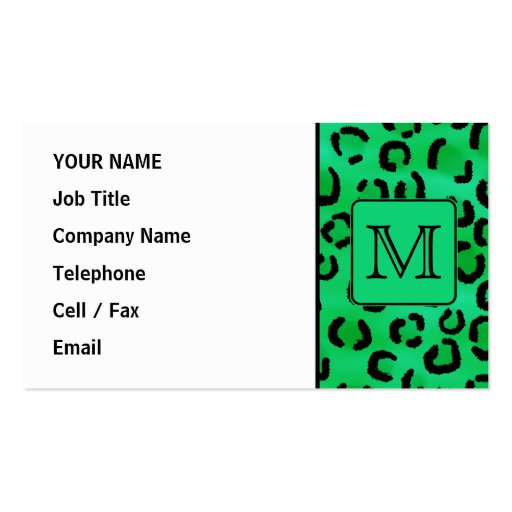 Grüner Leopard-Druck mit kundenspezifischem Visitenkarten Vorlagen