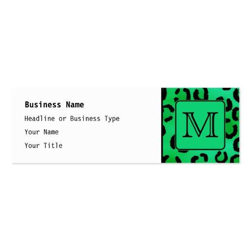 Grüner Leopard-Druck mit kundenspezifischem Visitenkartenvorlage