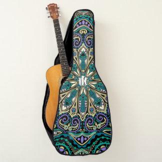 Grüner lila beige gitarrentasche