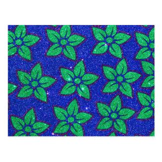 Grüner lila und blauer Glitter mit Blumen Postkarte