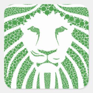 Grüner Löwe-Kopf Quadratischer Aufkleber