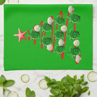 Grüner Meeresschildkröte-Weihnachtsbaum Küchentuch