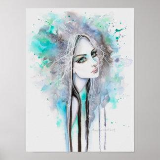 Grüner mit Augen Geist 12 x abstraktes Porträt der Poster