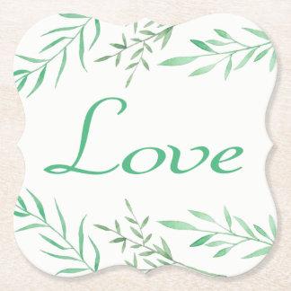 Grüner mit Blumenlorbeer verlässt Hochzeits-Liebe Untersetzer