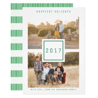 Grüner moderner doppelter Foto-Feiertags-flache 12,7 X 17,8 Cm Einladungskarte