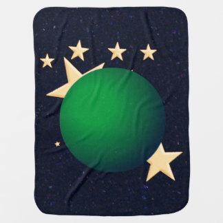Grüner Mond u. Sterne Kinderwagendecke