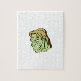 grüner Monsterkopf Puzzle