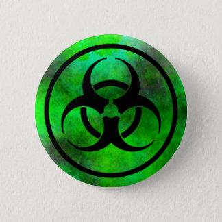 Grüner Nebel-Biogefährdung-Symbol-Knopf Runder Button 5,1 Cm