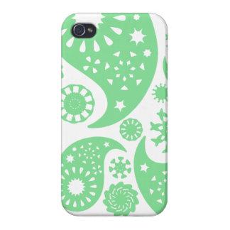 Grüner Paisley-Muster-Pastellentwurf iPhone 4 Etui