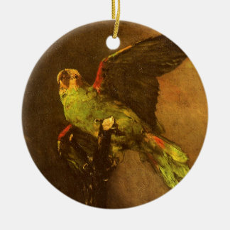 Grüner Papagei durch Vincent van Gogh, Vintage Keramik Ornament