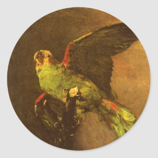 Grüner Papagei durch Vincent van Gogh, Vintage Runder Aufkleber