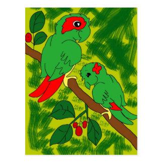Grüner Papagei Postkarte