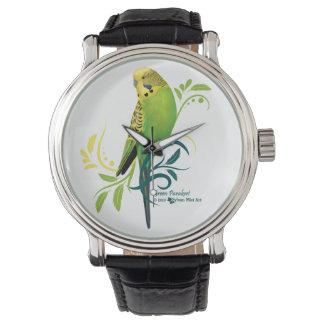 Grüner Parakeet Armbanduhr